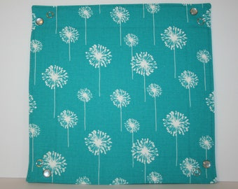 Collapsible Fabric Tray - Teal Dandelion