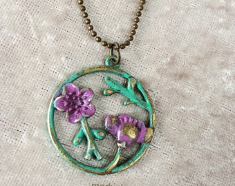 Patina Paint purple and green flower and bronze tone necklace