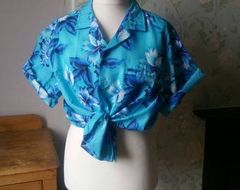 Unisex vintage Hawaiian shirt mens shirts large summer womens blouse ladies clothing blue tropical top vacation clothes Dolly Topsy Etsy UK