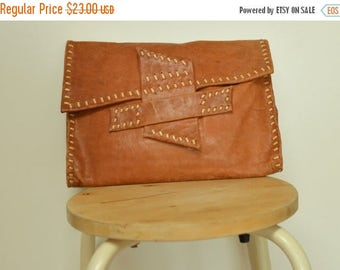 SALE Raw Leather Clutch bag Handbag Pouch vtg 80s