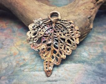 Nature's Lace Artisan Bronze PMC Skeleton Leaf Pendant