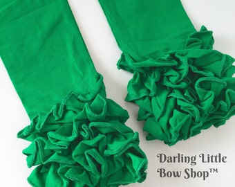 Green Ruffle Leggings - Kelly Green Ruffle Leggings - 2016 Holiday Collection knit ruffle leggings - size 6m to 8 with FREE SHIPPING