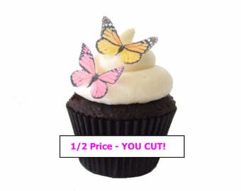 Edible Butterflies - 1/2 Price YOU CUT out these beauties! 24 Mini Pink and Yellow