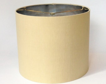 """14"""" Diameter"""" X 12"""" Tall Drum Lamp Shade in Taupe Linen with Metallic Silver Inside"""