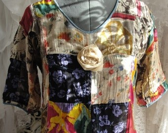 Gypsy hippie bohemian boho chic colorful gauzy sheer top with tattered rose