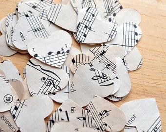 Music Hearts // 50 hearts // Paper Hearts // Die Cuts // Embellishment // Ephemera // Confetti // Party Decoration // Table Decoration