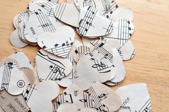 Music Hearts // 50 hearts // Paper Hearts // Die Cuts // Embellishment // Ephemera // Confetti // Party Decoration // Table Decoration