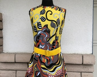 Vintage 60s Mod Orange Yellow Black Psychedelic Mini Dress Sleeveless Shift Dress Size Small