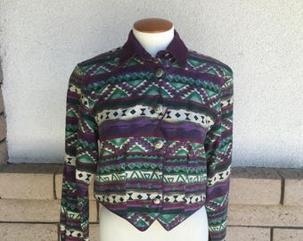 80s Purple & Green Rough Rider Western Shirt Crop Top Size Medium