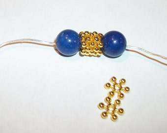 50 Bright gold plated snowflake spacer bead- 8 x 2.5 mm -(50 pieces)