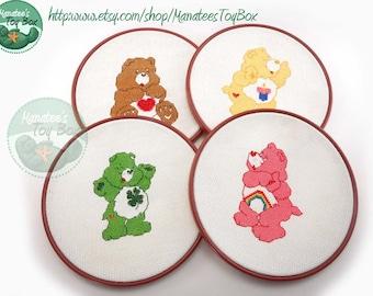 Vintage Care Bear Cross Stitch Set of 4 in Hoop Frames