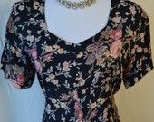 STARINA vintage 90's black floral rayon long dress S/M