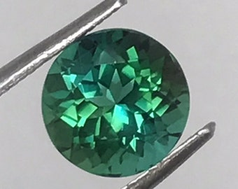 SOLD - Namibian Bluish Green Tourmaline, Very Rare, High Quaity loose gemstones, Round Faceted Cut Green Tourmaline, Natural Color