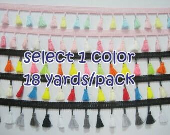 1 Pack (18 yards) Colorful Tassel Fringe, tassel trim, multicolored tassel trim, tassel garland, wholesale trim, boho trim, neon tassel trim