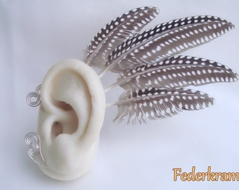 Guinea Fowl Feather Earwing, Earcuff Fascinator Wing Hair Tribal Headpiece, nickel-free