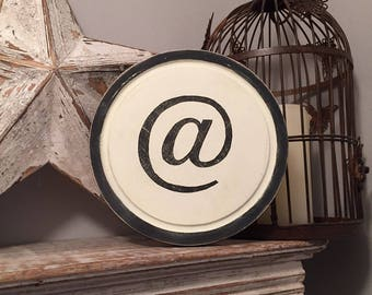 """8"""" Round Letter @ Sign, Monogram, Initial, Wall Art, Home Decor, Rustic Letters, All letters available, inc ampersand"""