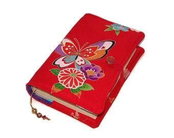 Book Cover in Kimono Silk, Painted Lady Butterfly, for Small to Medium Size Hardback Books or Softback Books, UK Seller