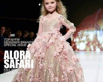 Pink flower girl dress, long sleeve flower girl dress with train