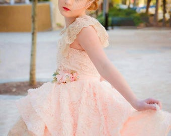 Couture 3D rosette blush pink high-low gown