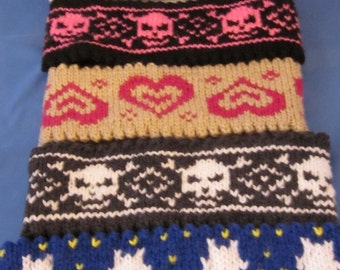 Custom order! Hand Knitted double side Head Band/Neck Warmer with Ornament. Great gift for a someone special. Valentines Day Gift