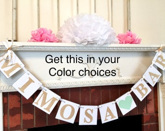 Mimosa Bar Banner - Bridal Shower Mimosa Bar Sign , Gold Mimosa Bar, Birthday Mimosa Bar, Bridal Shower, Brunch Decor, Reception Decor