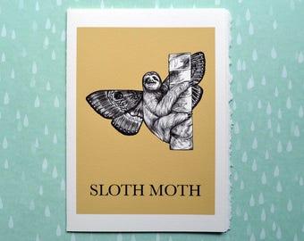 """Sloth Moth Greeting Card, Sloth + Moth Hybrid Animal, 5x7"""" Blank Card, Portland OR, Cute Sloth Gift"""