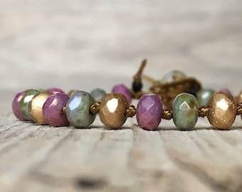 Yoga Hippie Beaded Bracelet - artisan bracelet - hippie boho - boho bracelet - hippie bracelet - beaded bracelet