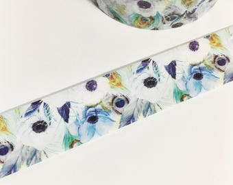 Gorgeous Blue Anemone Flowers Peacock Feathers Floral Feather Washi Tape 11 yards 10 meters 15mm