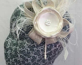 ivory sinamay and ostrich frond bridal piece