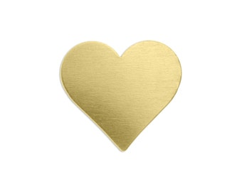 """3/4"""" Brass Heart Stamping Blank, 24 gauge, Choose Quantity - Bulk Available, Metal Stamping Blank, Hand Stamped Jewelry Supply"""