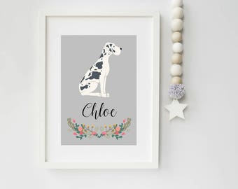 Dog Portrait, Personalised Great Dane Dog Art Print, pet portrait, Great Dane, pet portrait, dog art print, ideal gift for dog lovers