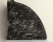 Leather wallet / small purse / zipper pouch  QUARTER S in salt and pepper cow hair. Gift under 20.
