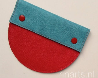 Leather purse / pouch Half-Round in color block turquoise and red leather.  Gift for her