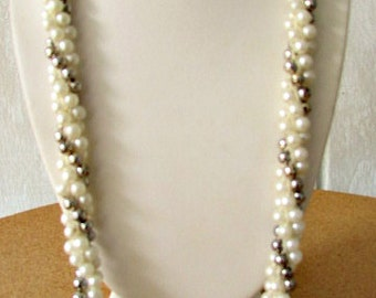 vintage 60s crocheted necklace pearls and silver beads hand made