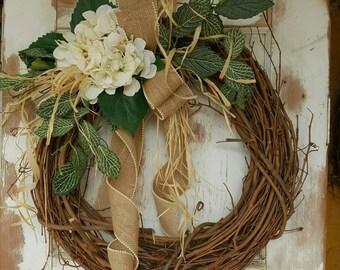 Front door wreath, hydrangea, Wreath - Wreath Great for All Year Round - Everyday Burlap Wreath, Door Wreath