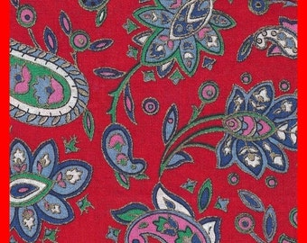 Vintage Fabric Holiday Red Floral Paisley Print 52 in Wide 1 Yard 3 Inches Long