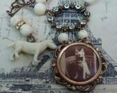 DOG PORTRAIT LOCKET vintage antique assemblage necklace