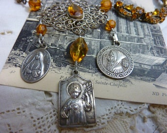 FRENCH MEDALS religious vintage  assemblage necklace
