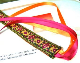 Ribbon Bookmark - Persian Carpet Royal Mango Crimson Jacquard Bookmark - Satin Ribbon Tassel