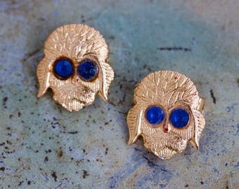 Dog Face Lapel Pin - Set of 2 Vintage Golden Brooches - made in Hong Kong
