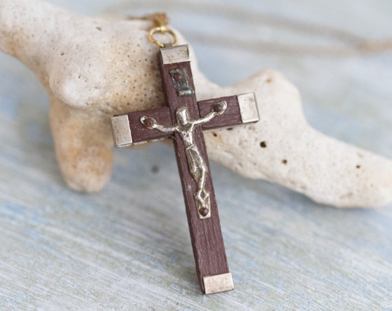 Wood Cross Necklace Antique Crucifix Pendant On Chain