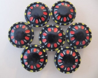 1930's plastic buttons, 30 pcs Art Deco colorful black casein plastic button, 20mm vintage galalith buttons Germany, 3/4 inch black buttons