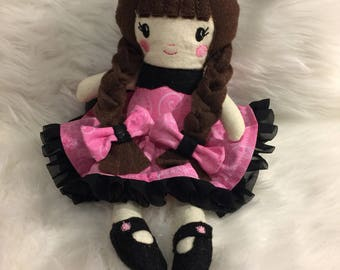 """11"""" Plush Rag Doll Pink and Black Ready to Ship"""