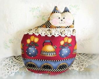 Cat Pillow Doll Cloth Doll 7 inch Cat, Vintage Tea Kettle Border Print, Primitive Soft Sculpture Handmade CharlotteStyle Decorative Folk Art