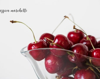 Cherries, Kitchen art, Cherry print, kitchen decor wall art, food art, food print, Bowl of Cherries, Cherry bowl, home decor, canvas art