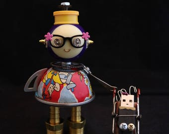Reserved - Little Momma Bot - found object robot sculpture assemblage by Cheri Kudja with Bitti Bots