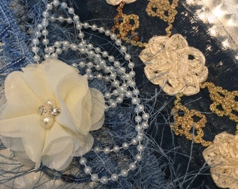 Vintage Embroidered Flower Netting, Embellishing Set, Scrapbooking, Sewing, Supplies, Arts And Crafts
