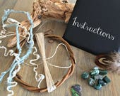 Natural DIY dream catcher kit , green tree agate stones , abalone