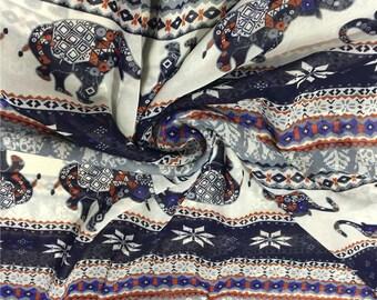 "59""width thiland vintage blue gray white elephant snowflakes stripe  chiffon fabric by  yard"