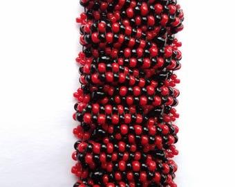 red and black beaded bracelet, seed bead bracelet, hand woven bracelet,  beaded bracelet, handmade bracelet, basket weave bracelet